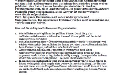 Medienmitteilung der Fondation Franz Weber zum Holzschlag am Uetliberg in Zürich