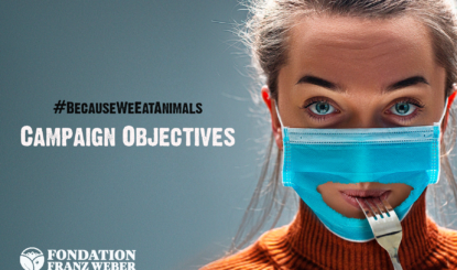 How will the #BECAUSEWEEATANIMALS campaign unfold and what is its final goal?